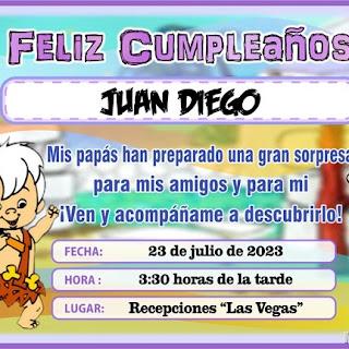 Tarjeta de Cumpleaños de Bamm Bamm, para Imprimir