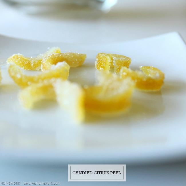 Candied Citrus Lemon Peel via homework | carolynshomework.com