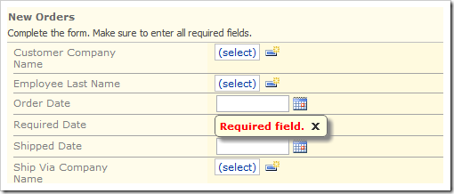 Error message displayed for validated field when new order is saved.