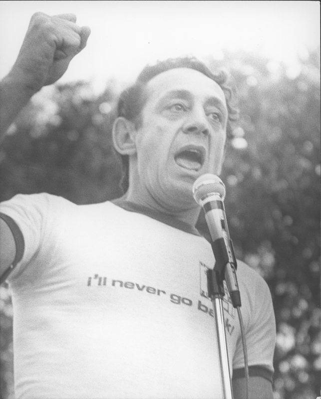 Harvey Milk speaks at the Los Angeles Christopher Street West pride parade. 1978