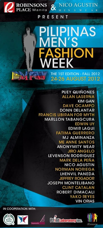pilipinas men's fashion week aug 24-26, 2012