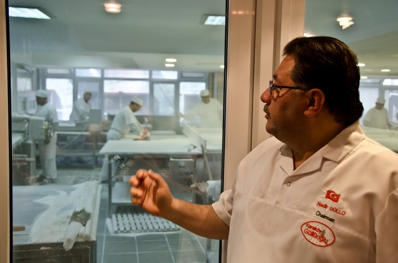 Nadir Gullu at the baklava production facility