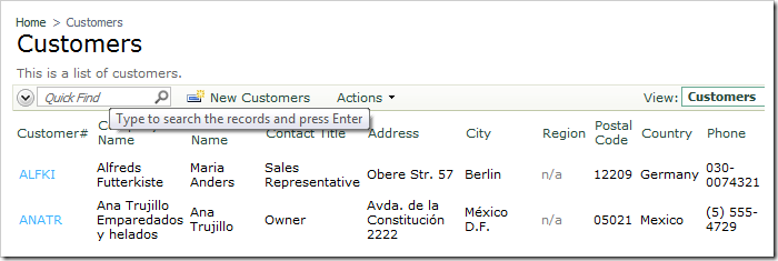 Quick Find text box on the action bar of Code On Time web application