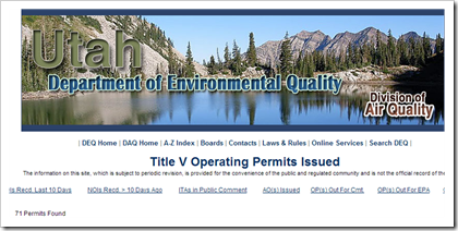 Utah Department of Environmental Quality Division of Air Quality Title V Operating Permits Issued