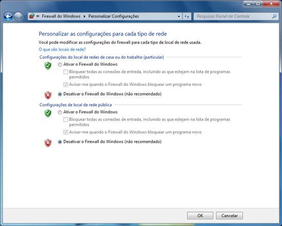 Marque as duas opções Desativar o Firewall do Windows (não recomendado) e clique em Ok.