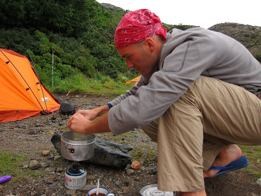 Campsite cooking - much easier in the daylight!