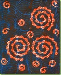 10.Lidl blue with paper spirals as resist then orange with system 3 magenta and process yellow and gloss AGL shaped with catalyst 2 on white paper