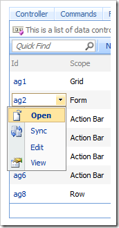 Open context menu option for action groups in the Project Browser.