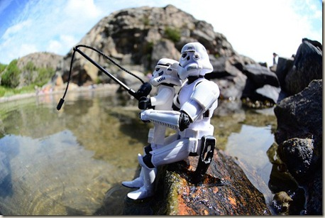 Stormtropper and son fishing
