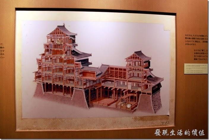 日本北九州-熊本城。這是熊本城修復時的剖面圖。