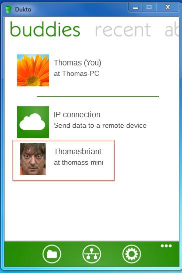 Dukto on Windows desktop captain obvious