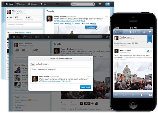 Twitter ajoute la possibilité d'envoyer des tweets par mail