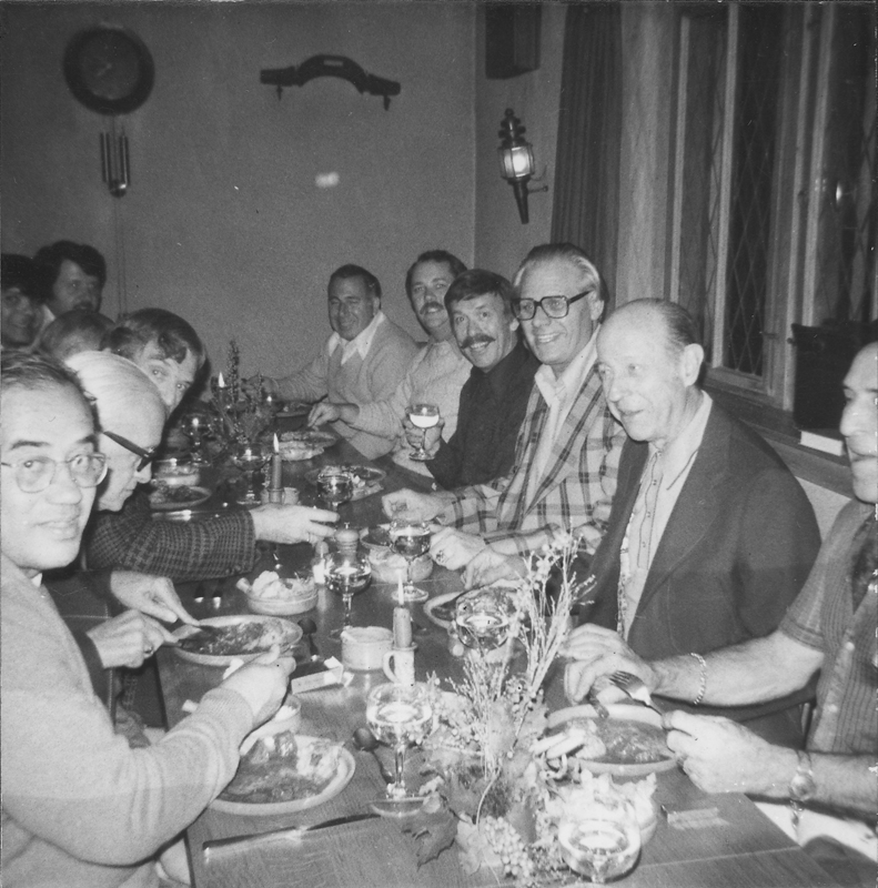 ONE Incorporated helped sponsor the first gay and lesbian travel tours in 1964. This image shows W. Dorr Legg (second from right) leading his tour group to dinner in Germany. The tour members often met with local gay associations in the cities they visited. September 24, 1976.