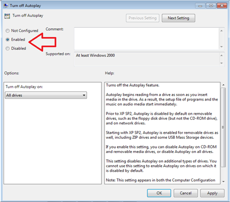 turn off autoplay ใน windows7