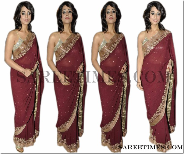 Mahie_Gill_Maroon_Saree