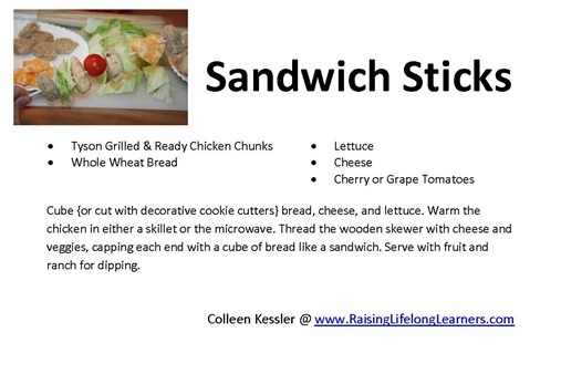 Sandwich Sticks Recipe Card