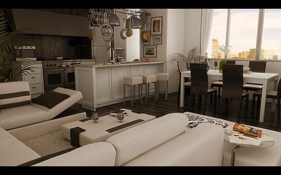 Moderno salón de sofás cremas y pisos de color de madera oscuro