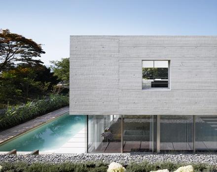 Casa en lago zurich suiza de sam architekten und partner - Fachada hormigon in situ ...
