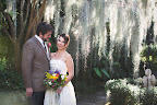 Kyle first saw his bride in the Spanish moss–filled courtyard of The Antebellum Guest House, the B&B where the duo stayed.