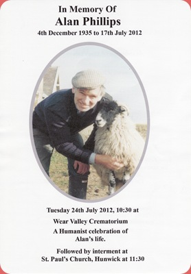 Alan Phillips' memoriam card