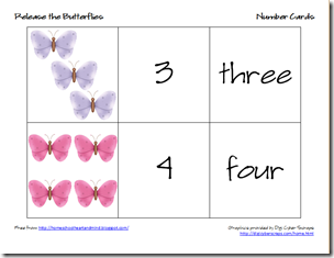 butterflies number cards 2