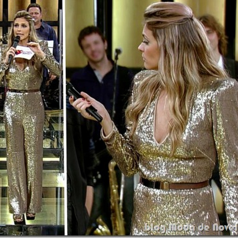 Macacão de lamê dourado da Fernanda Lima no programa Amor & Sexo do dia 14 de julho