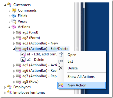 Adding a new action in a Code On Time web application