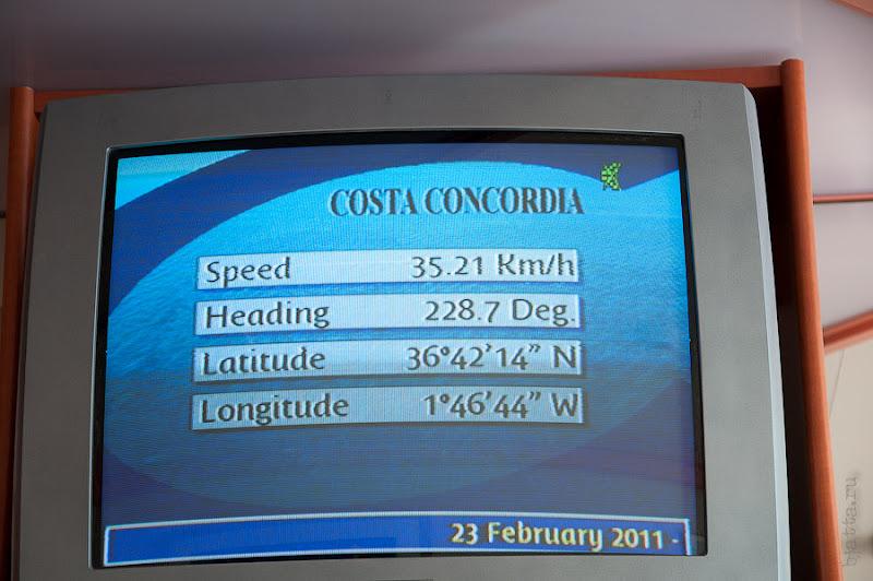 Первый день в круизе на Costa Concordia. Информационный канал в каюте. Текущая скорость корабля.