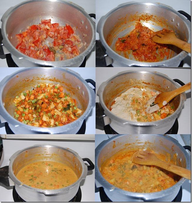 Mixed vegetable kurma process