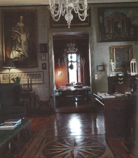 Artworks in Vervoodt's study include a portrait of a lady attributed to Peter Lely and a Roman School painting circa 1680, Porta de Cesare. The mahogany partners' desk is Eighteenth-century English. (Dealer's Choice, Architecture/Interiors Press, Inc.)