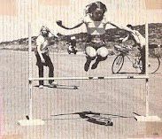In the earlier days at La Costa perfecting her technique jumping the bar!