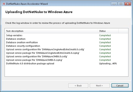 Using the wizard to create the DotNetNuke instances