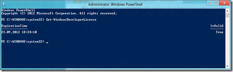 PowerShell: Get-WindowsDeveloperLicense showing the validity and expiration of the current developer license