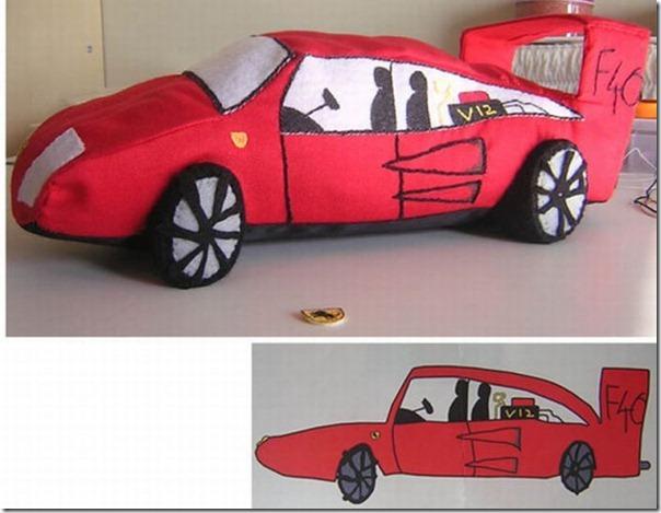 Brinquedos de pelúcia feitos a partir de desenhos de crianças (4)