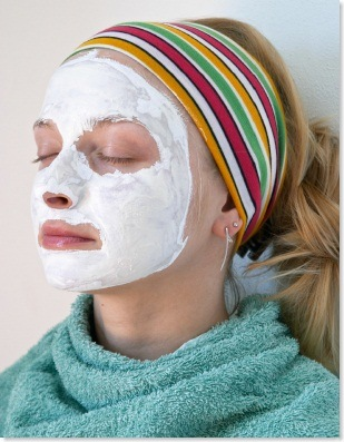 Wellness and beauty: woman wearing a face mask
