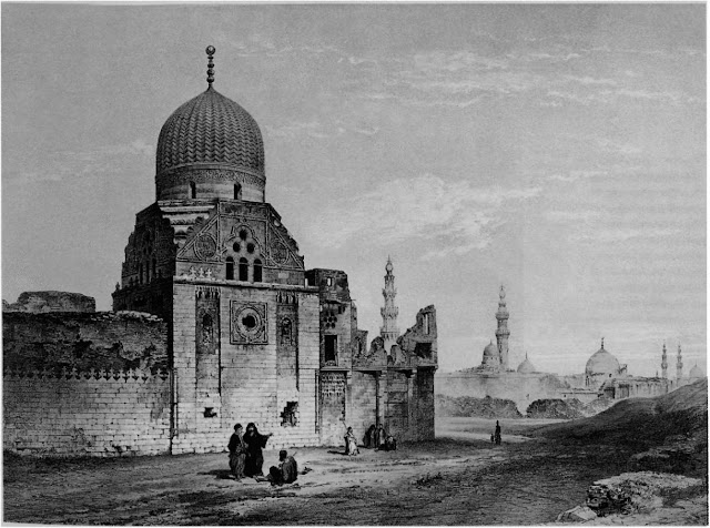 Mausoleum of Emir Tar abay al-Sharifi, 16th century. This depiction alludes to a larger complex. The artist has articulated the dome's double-leaf cresting, three arched panels surmounted by windows in the form of three oculi, and the shoulder that decorates the transition zone.