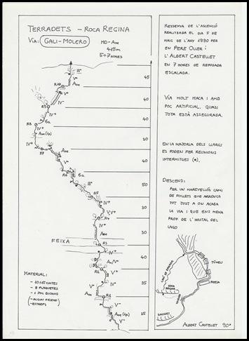 Croquis Terradets - Roca Regina - Gali-Molero 500m MD  6b  Ae (V  A0 Oblig) (Albert Castellet)