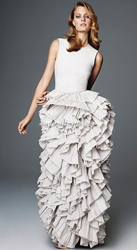 H&M CONSCIOUS 2012 EXCLUSIVE GLAMOUR COLLECTION SPRING  ULTIMATE RED CARPET GOWN organza crease plissé meringue skirt silk boule