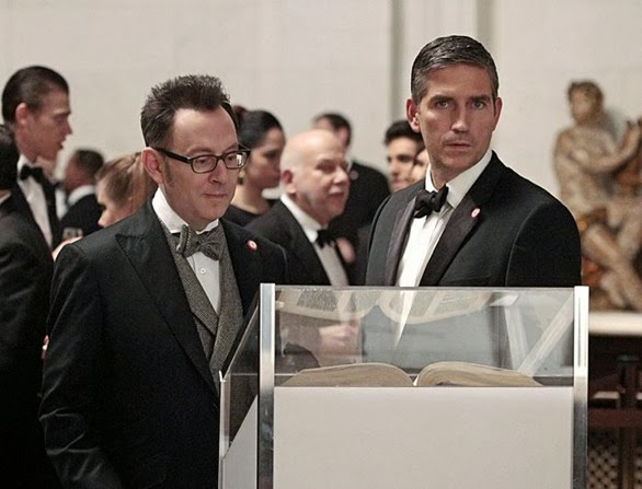 """Provenance"" -- Reese (Jim Caviezel, right) rejoins Finch (Michael Emerson, left) in New York, but when the team receives the number of a highly skilled antiquities thief, a surprising turn of events finds them planning a heist which could land them all in jail, on PERSON OF INTEREST, Tuesday, Feb. 4 (10:01 – 11:00 PM ET/PT) on the CBS Television Network.  Photo: Giovanni Rufino/WBEI © 2013 WBEI. All rights reserved."