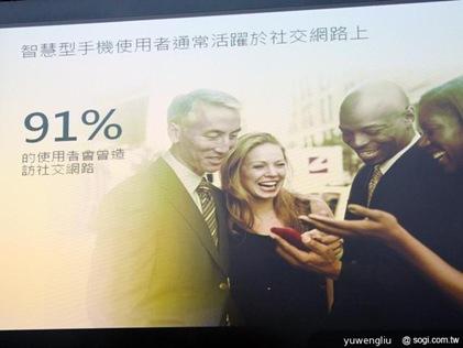 91% 智慧型手機使用者會使用社群網站,顯示這群用戶通常也是社交網路較活躍者