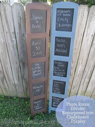 repurposed photo room divider into chalkboard