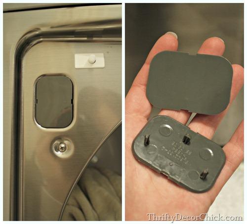 Changing hinges on dryer door