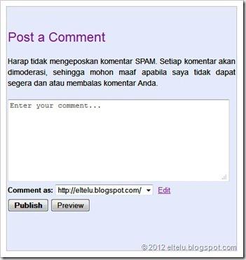 Desain Kolom Kotak Komentar Blogger