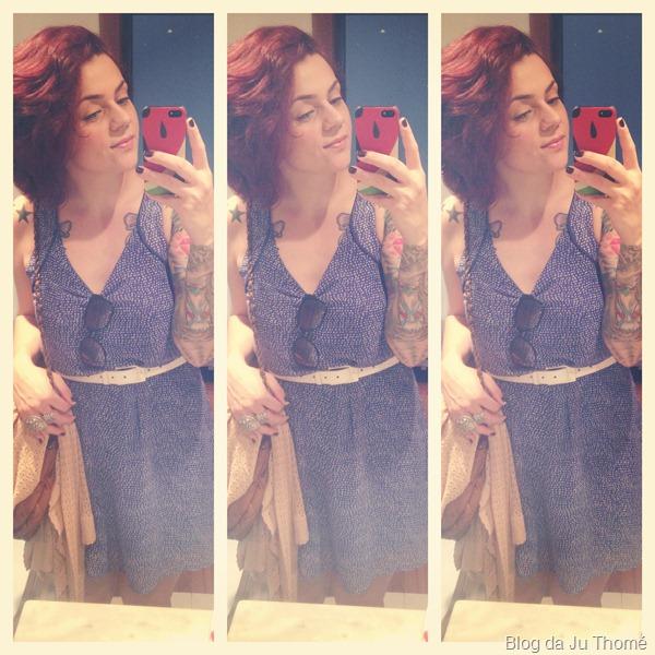 look vestido azul de poá com cardigã de renda  (3)