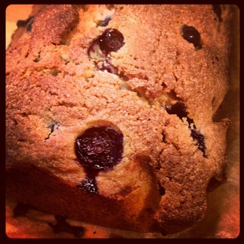 Blueberry loaf cake hot out the oven