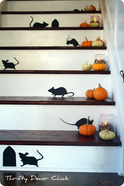pumpkins on stairs