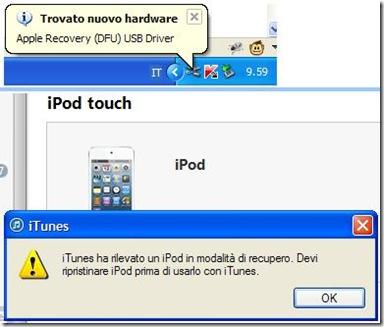 iTunes ha rilevato un iPod/iPhone/iPad in modalità di recuper. Devi ripristinare iPod/iPhone/iPad prima di usarlo con iTunes