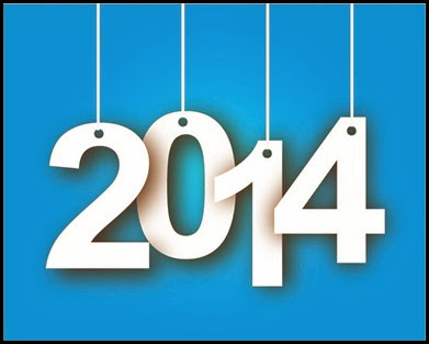 2014-Year-Tags-on-Blue-Background-Vector-Illustration