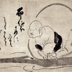 Hakuin, Hotei on a Boat