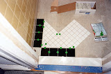 Starting the tile pattern - I had to start at the entrance, to make sure the pattern looks good when you first enter the room